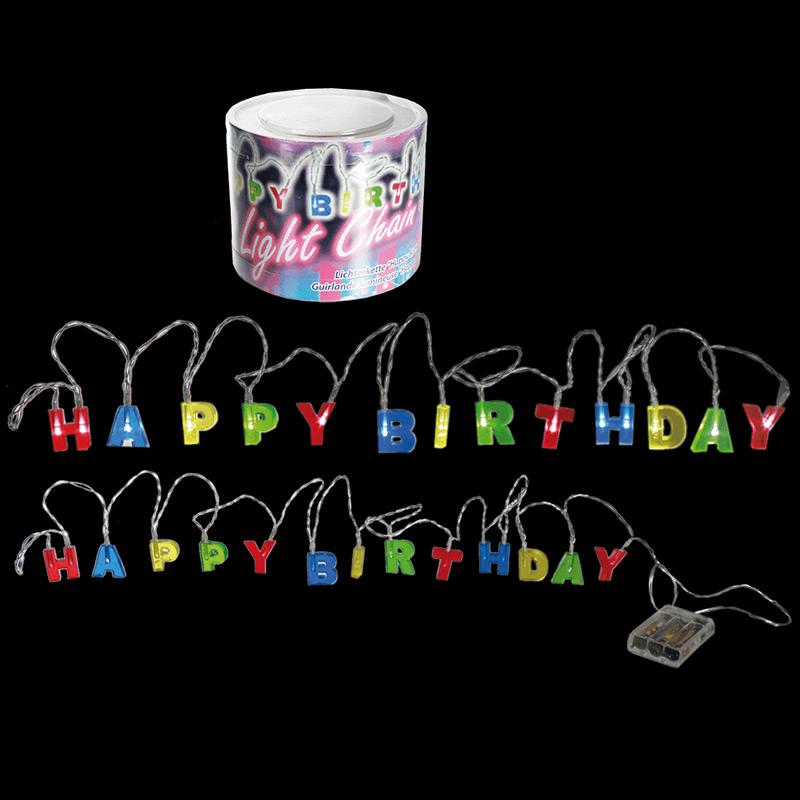 Guirnalda Happy Birthday con luces a pilas