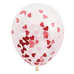 Pack de 5 globos transparentes con confeticorazón rojo