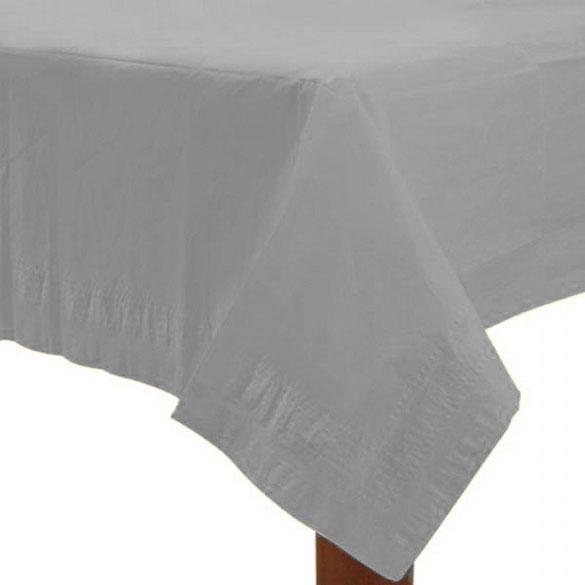 Mantel liso plata 274 x 137 cm impermeable, Pack 1 u.