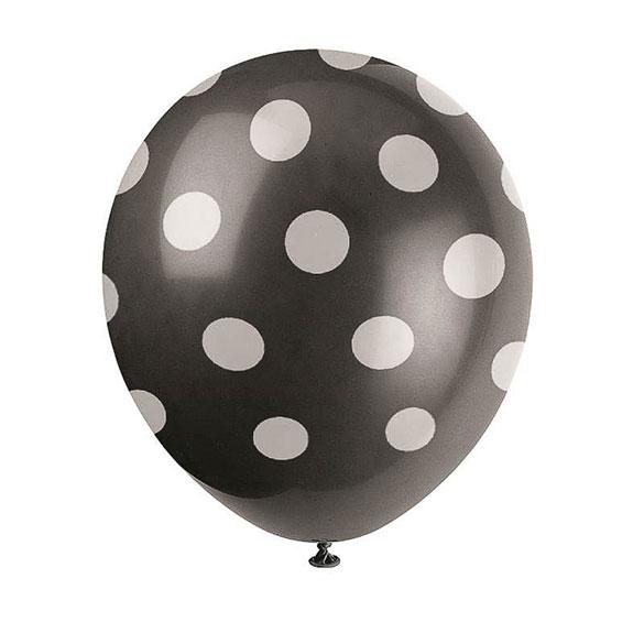 Globos de Látex Negros con lunares Blancos. Pack de 6 unidades