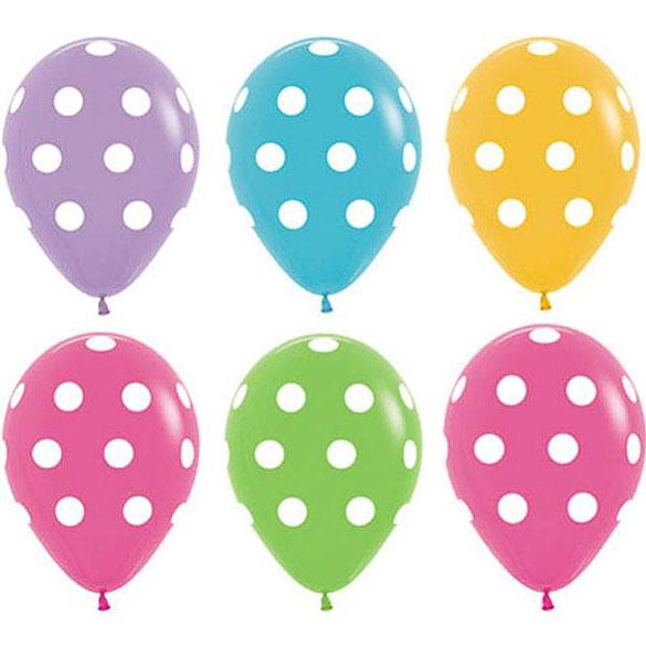 Globos de Látex colores surtidos con lunares Blancos. Pack de 10 unidades