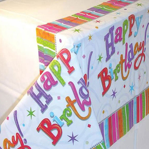 Mantel Happy Birthday 259 x 137 cm plástico, Pack 1 u.