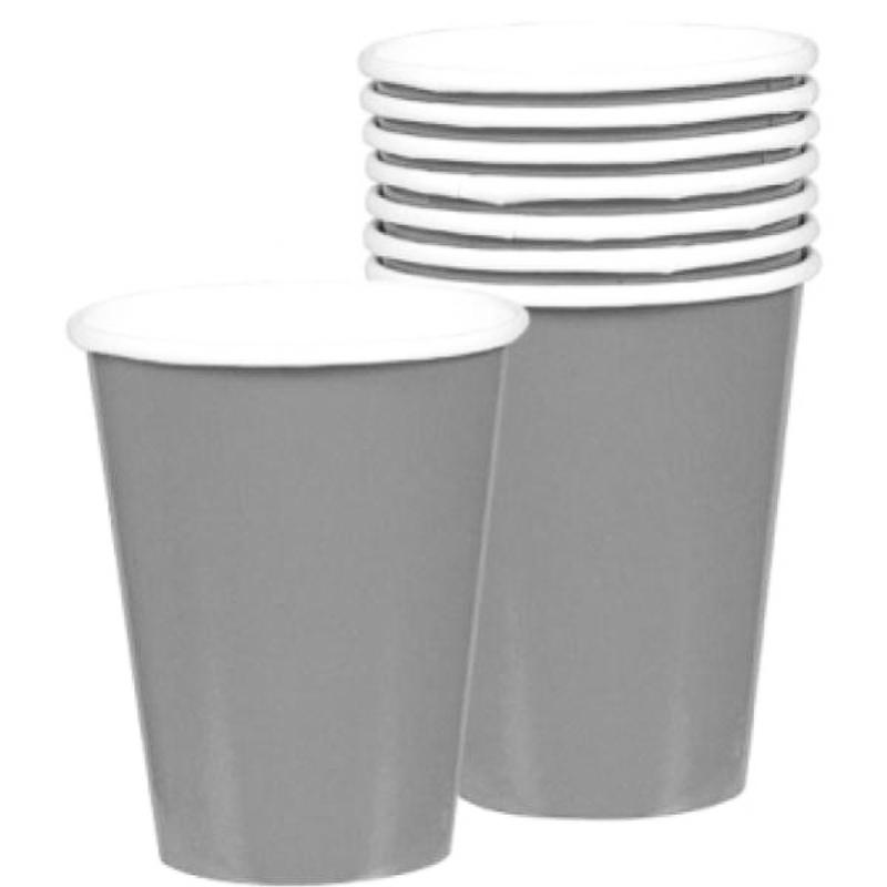 Vasos Plateados cartón encerado 266 ml, Pack 8 u.