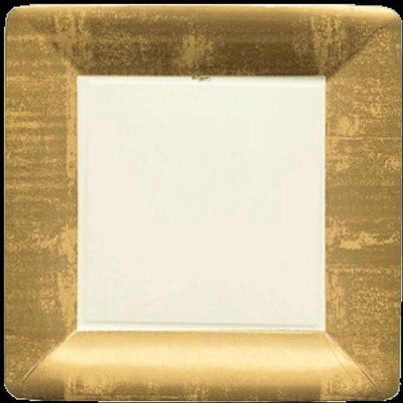 Platos Dorados Navidad cuadrados 26 cm, Pack 8 u.