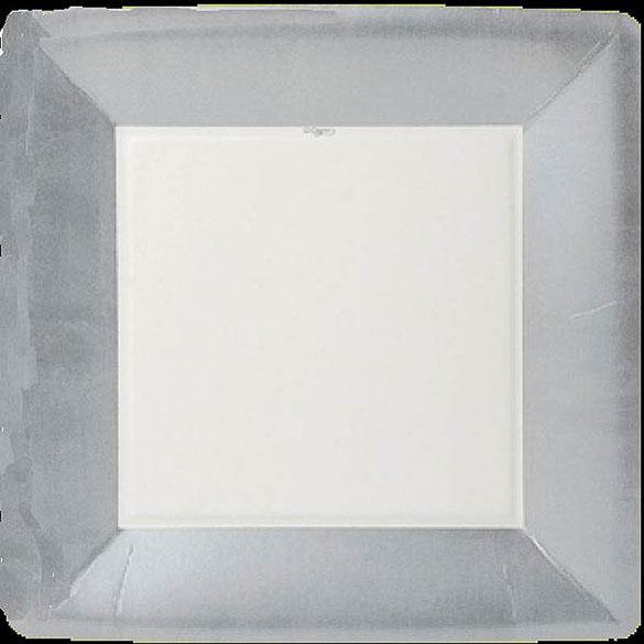 Platos Plateados Navidad cuadrados 26 cm, Pack 8 u.
