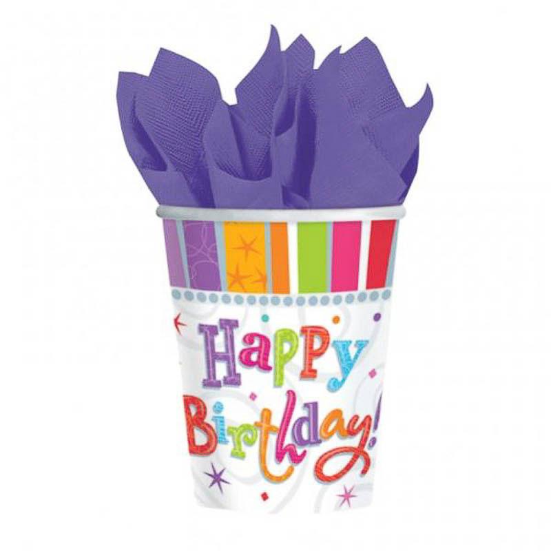 Vasos Happy Birthday 266 ml, Pack 8 u.