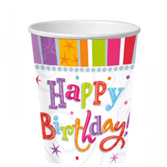 Vasos Happy Birthday 266 ml, Pack 8 u.