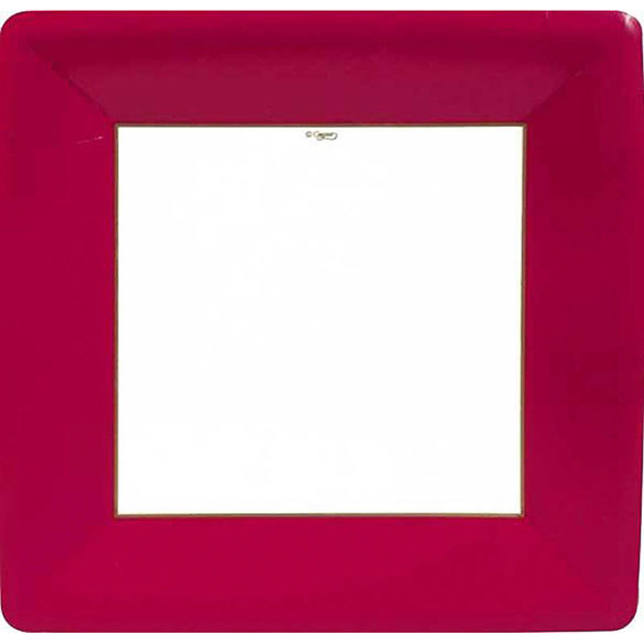 Platos Ribete Rojo Navidad 26 cm, Pack 8 u.