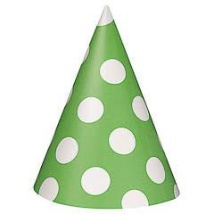Gorros cartón cumpleaños verde lunares blancos, Pack 8 u.