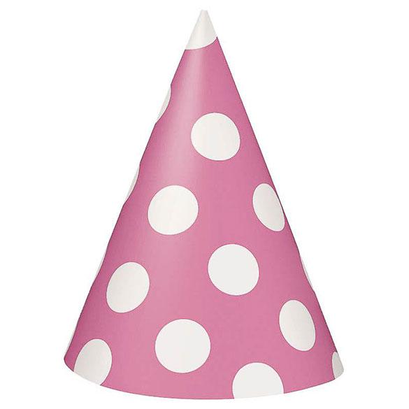 Gorros cartón cumpleaños rosa lunares blancos, Pack 8 u.