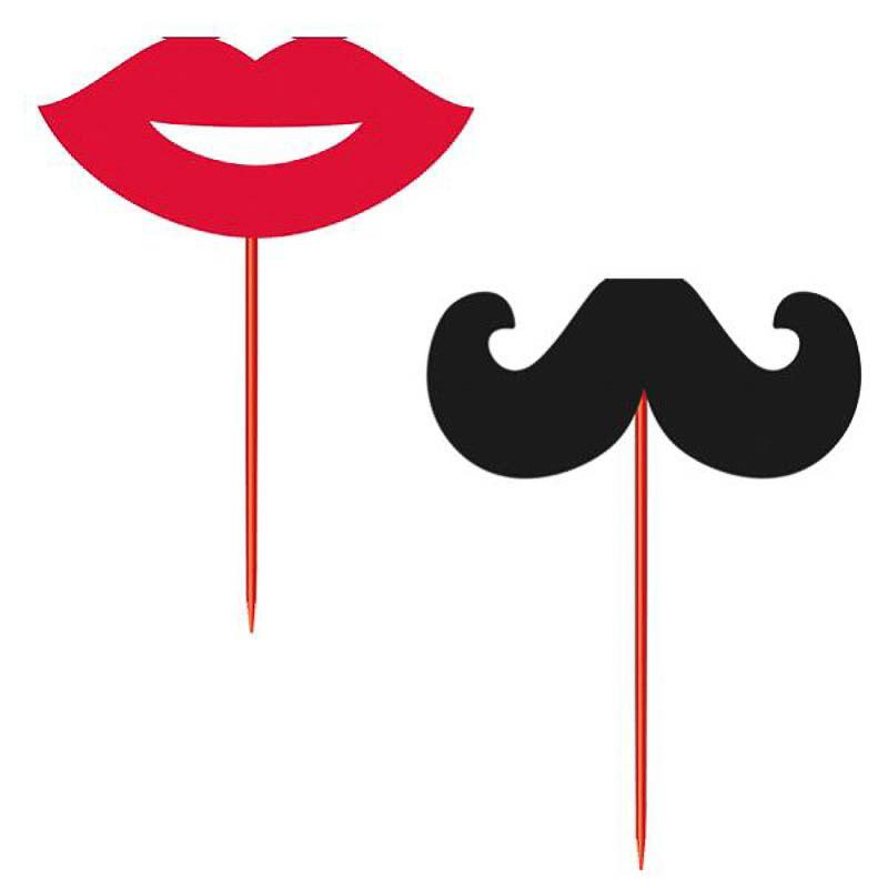 Pinchos decorativos labios y bigote, Pack 12 u.