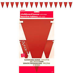 Guirnalda banderines roja de tela para escribir con tiza