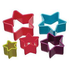 Cortadores de galletas con formas de estrellas, Set 5 u.