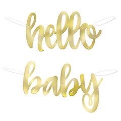 Guirnalda Hello Baby dorada