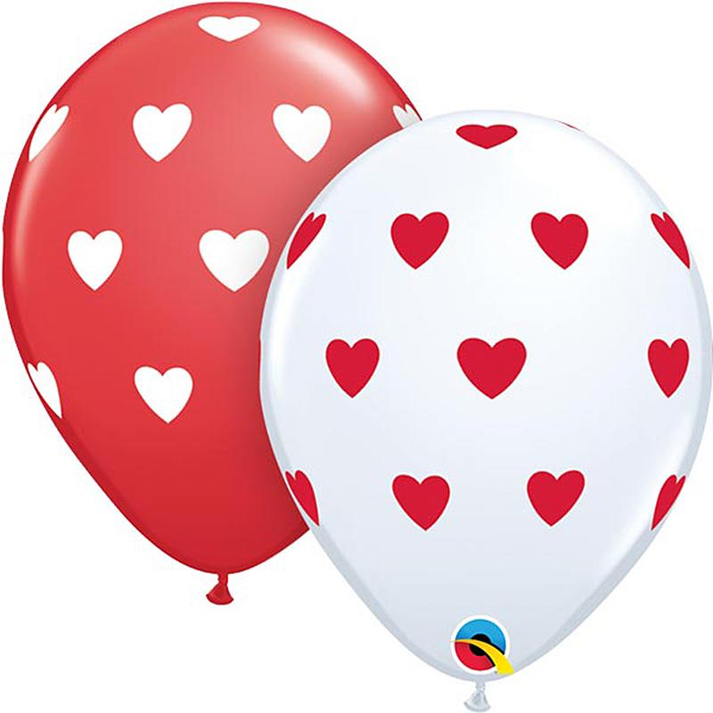 Globos rojos y blancos con corazones, Pack 10 u