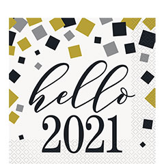 Servilletas Hello 2020 33 x 33 cm, Pack 16 u.