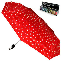 Paraguas mágico que cambia de color al contacto con la lluvia