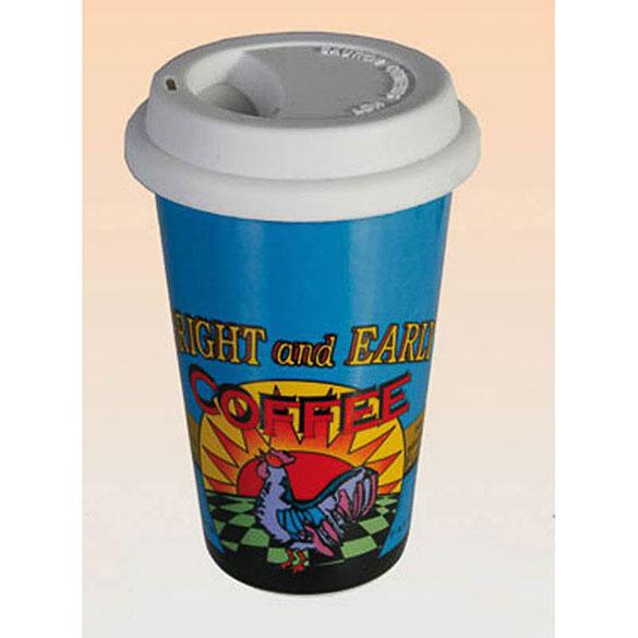 Vaso cerámica Coffe Brand to go con tapa de silicona