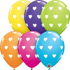 Globos colores surtidos con corazones, Pack 10 u