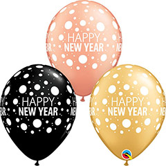 Globos de látex Happy New Year. Pack de 6 u.