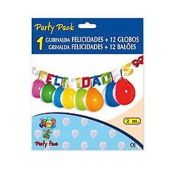 Guirnalda articulada Felicidades de cartón con globos
