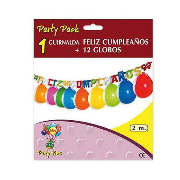 Guirnalda articulada Feliz Cumpleaños de cartón con globos