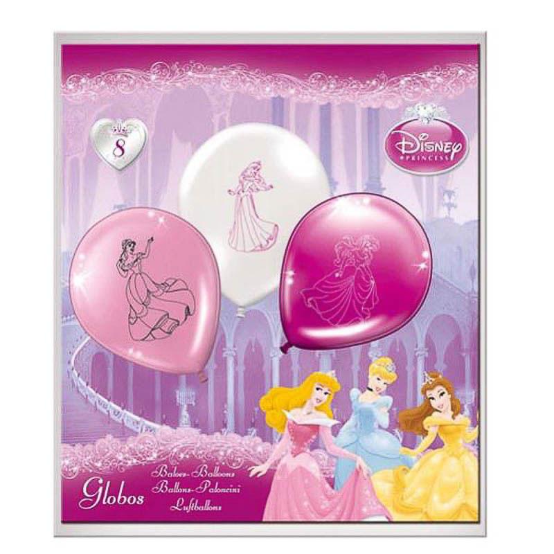 Globos de Látex Princesas Disney colores surtidos. Pack de 8 globos