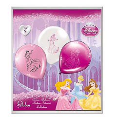 Globos de Látex Princesas Disney colores surtidos. Pack de 8 globos - Ítem