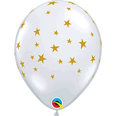 Globos de látex Transparentes con estrellas. Pack 10 u.