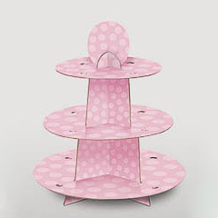 Bandeja cupcakes 3 pisos cartón rosa