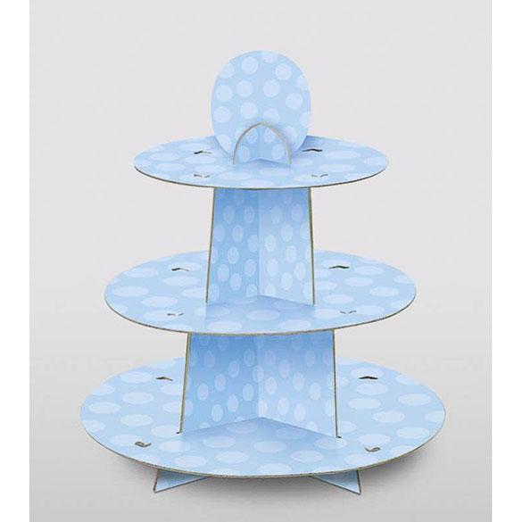 Bandeja cupcakes 3 pisos cartón azul cielo