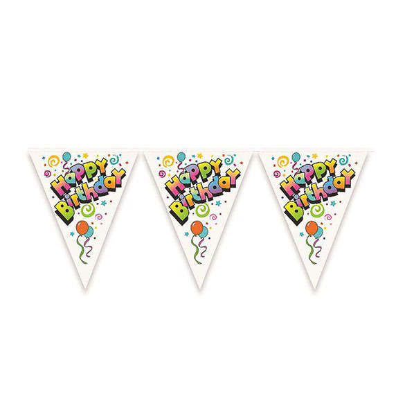Guirnalda banderín triangular Happy Birthday de plástico