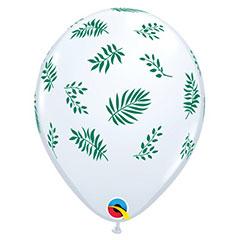 Globos de látex blancos Hojas Tropicales, Pack 10 u.