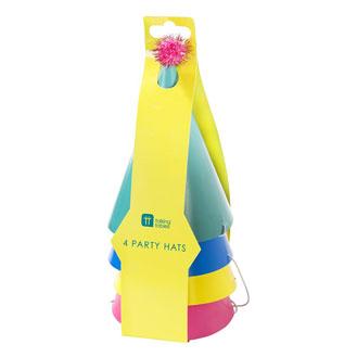 Gorros bonete de cartón con pompón para cumpleaños colores surtidos, Pack4 u.