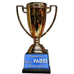 Trofeo padre copa dorada con peana negra