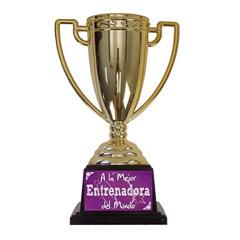 Trofeo A la mejor entrenadora copa dorada con peana negra