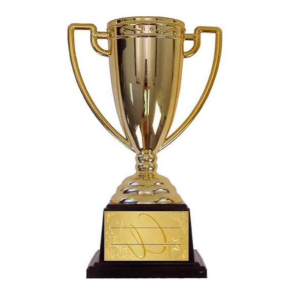 Trofeo Escribe tu mensaje copa dorada con peana negra