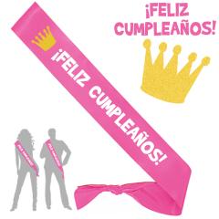 Banda feliz cumpleaños color rosa