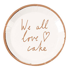 Mini platos We all love cake, 13 cm, Pack 12 u.