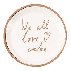 Mini platos We all love cake, 13 cm, Pack 12 u.