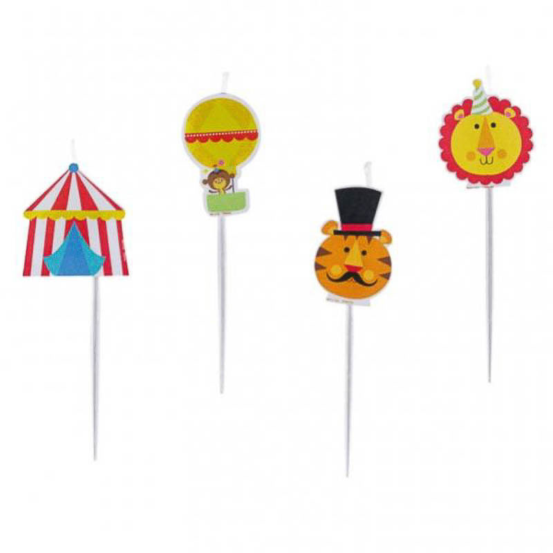 Velas cumpleaños animales circo, Pack 4 u.