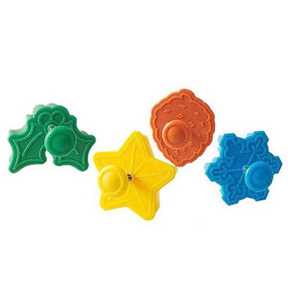 Cortadores galletas con formas navideñas con expulsor, Set 4 u.