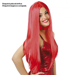 Peluca roja larga lisa