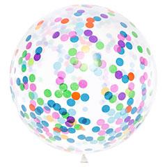 Globo de látex Transparente con confeti multicolor 100 cm. 1 unidad