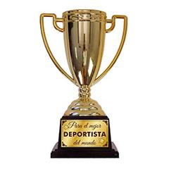 Trofeo Al mejor deportista del mundo copa dorada con peana negra