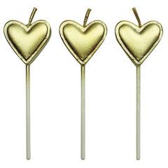 Velas con palo corazón oro, Pack 8 u.