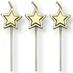 Velas con palo estrella oro, Pack 8 u.