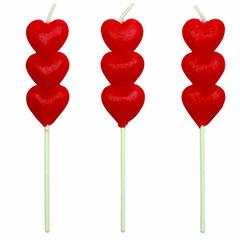Velas 3 corazones rojos con palo, Pack 8 u.