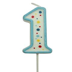 Vela cumpleaños número 1 borde celeste y lunares