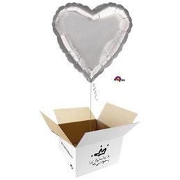 Globo Corazón Plata en caja sorpresa